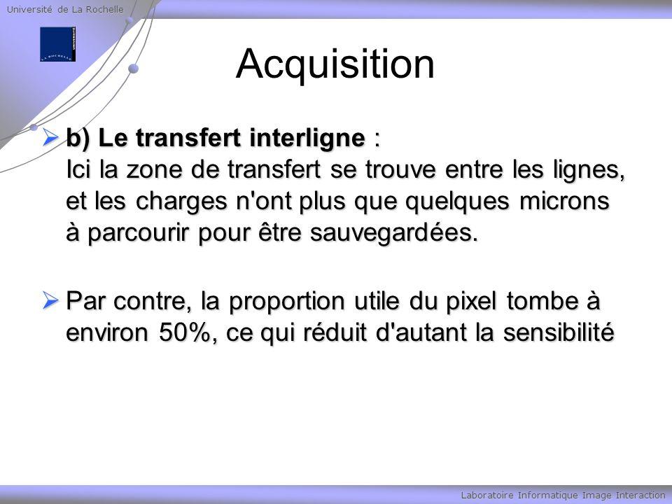 Université de La Rochelle Laboratoire Informatique Image Interaction Acquisition b) Le transfert interligne : Ici la zone de transfert se trouve entre les lignes, et les charges n ont plus que quelques microns à parcourir pour être sauvegardées.