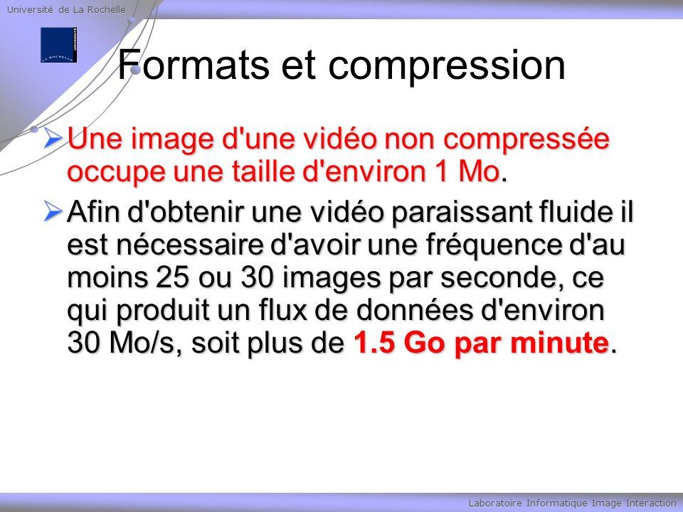 Université de La Rochelle Laboratoire Informatique Image Interaction Formats et compression Une image d une vidéo non compressée occupe une taille d environ 1 Mo.