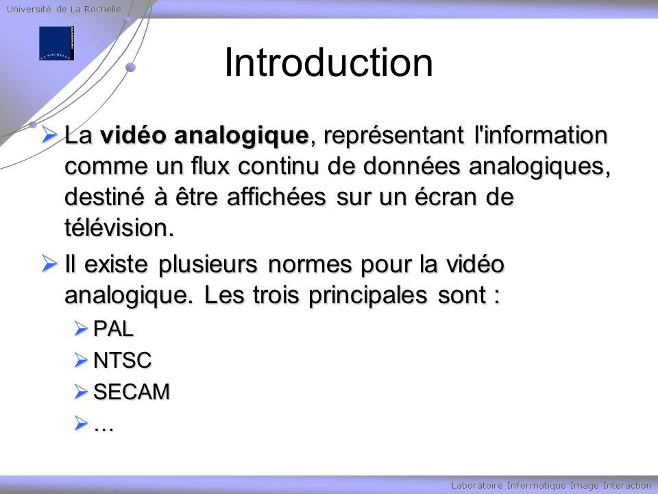 Université de La Rochelle Laboratoire Informatique Image Interaction Introduction La vidéo analogique, représentant l information comme un flux continu de données analogiques, destiné à être affichées sur un écran de télévision.