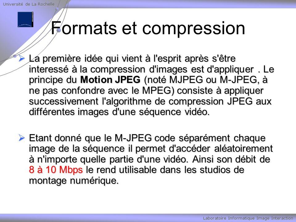 Université de La Rochelle Laboratoire Informatique Image Interaction Formats et compression La première idée qui vient à l esprit après s être interessé à la compression d images est d appliquer.