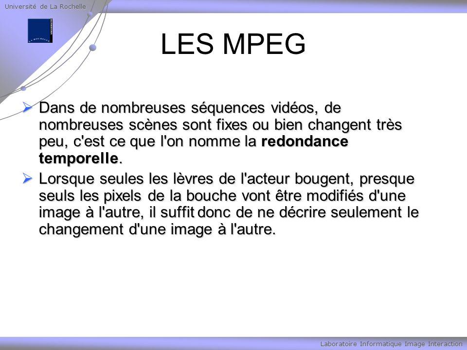 Université de La Rochelle Laboratoire Informatique Image Interaction LES MPEG Dans de nombreuses séquences vidéos, de nombreuses scènes sont fixes ou bien changent très peu, c est ce que l on nomme la redondance temporelle.