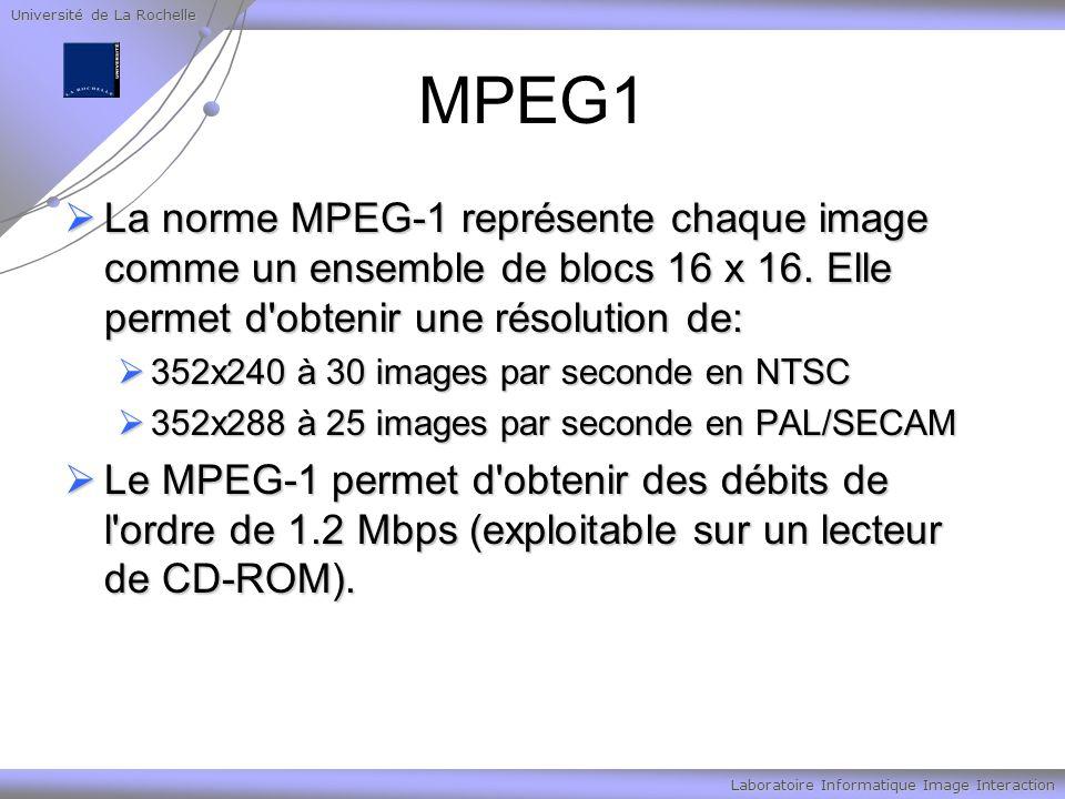 Université de La Rochelle Laboratoire Informatique Image Interaction MPEG1 La norme MPEG-1 représente chaque image comme un ensemble de blocs 16 x 16.