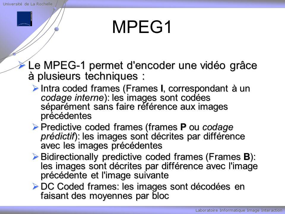 Université de La Rochelle Laboratoire Informatique Image Interaction MPEG1 Le MPEG-1 permet d encoder une vidéo grâce à plusieurs techniques : Le MPEG-1 permet d encoder une vidéo grâce à plusieurs techniques : Intra coded frames (Frames I, correspondant à un codage interne): les images sont codées séparément sans faire référence aux images précédentes Intra coded frames (Frames I, correspondant à un codage interne): les images sont codées séparément sans faire référence aux images précédentes Predictive coded frames (frames P ou codage prédictif): les images sont décrites par différence avec les images précédentes Predictive coded frames (frames P ou codage prédictif): les images sont décrites par différence avec les images précédentes Bidirectionally predictive coded frames (Frames B): les images sont décrites par différence avec l image précédente et l image suivante Bidirectionally predictive coded frames (Frames B): les images sont décrites par différence avec l image précédente et l image suivante DC Coded frames: les images sont décodées en faisant des moyennes par bloc DC Coded frames: les images sont décodées en faisant des moyennes par bloc
