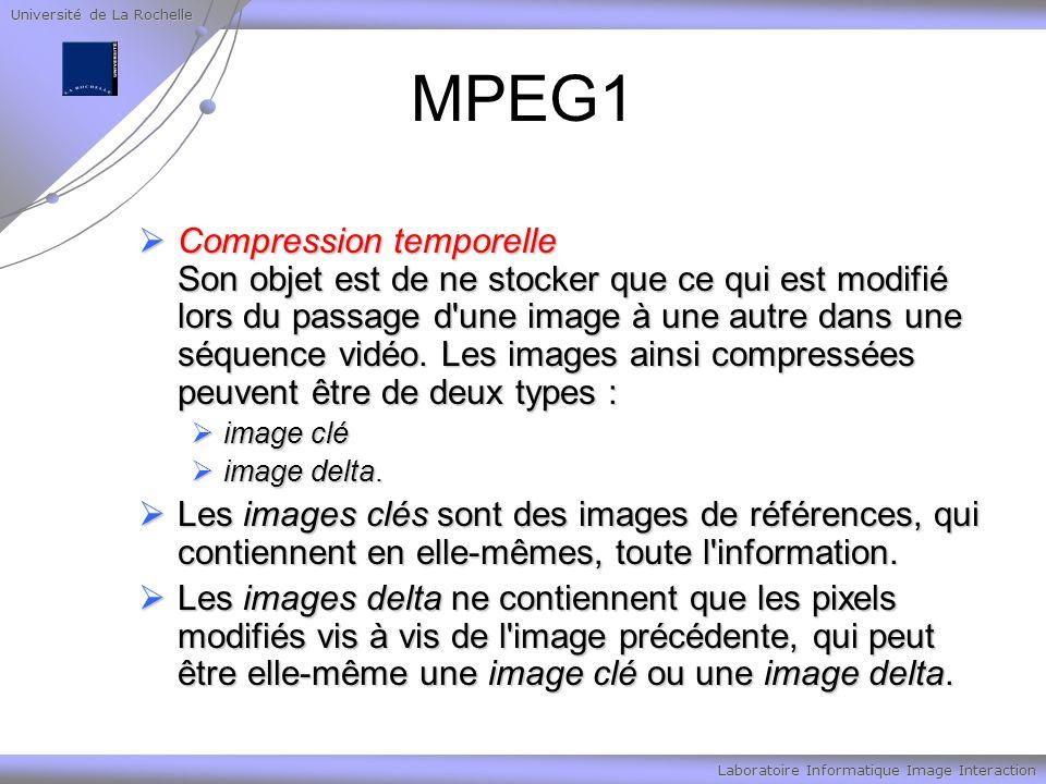 Université de La Rochelle Laboratoire Informatique Image Interaction MPEG1 Compression temporelle Son objet est de ne stocker que ce qui est modifié lors du passage d une image à une autre dans une séquence vidéo.