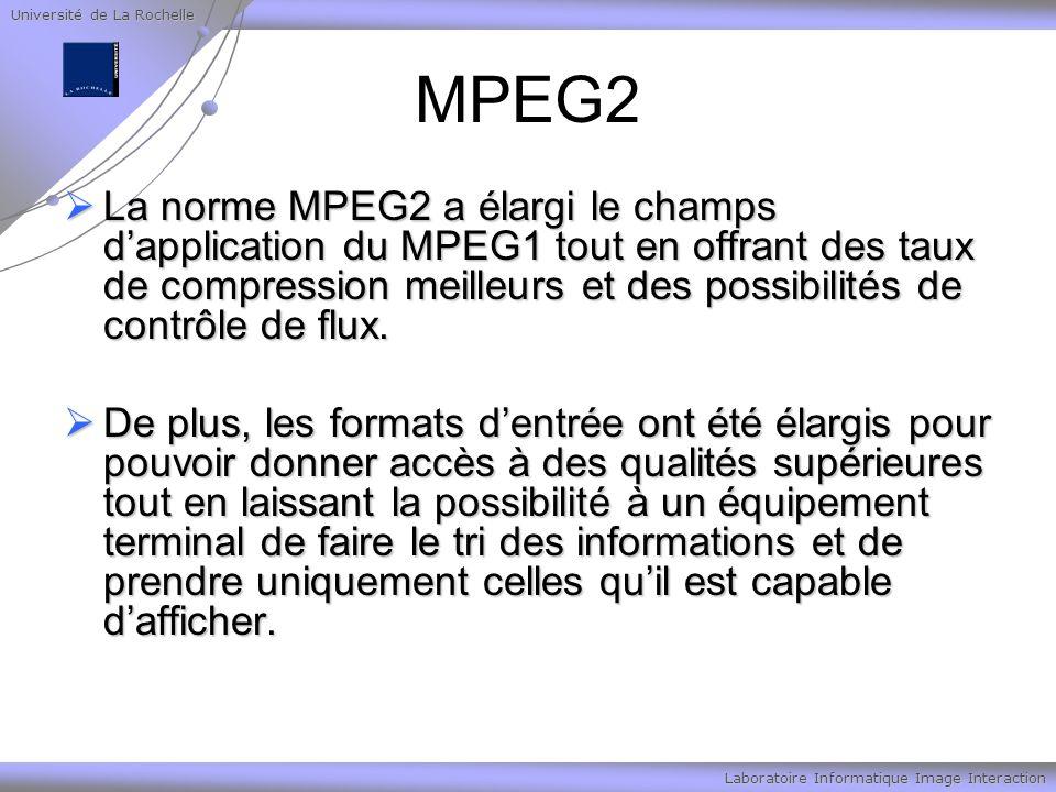 Université de La Rochelle Laboratoire Informatique Image Interaction MPEG2 La norme MPEG2 a élargi le champs dapplication du MPEG1 tout en offrant des taux de compression meilleurs et des possibilités de contrôle de flux.