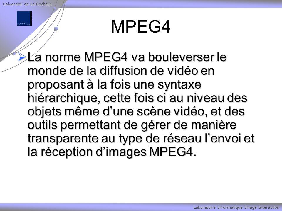 Université de La Rochelle Laboratoire Informatique Image Interaction MPEG4 La norme MPEG4 va bouleverser le monde de la diffusion de vidéo en proposant à la fois une syntaxe hiérarchique, cette fois ci au niveau des objets même dune scène vidéo, et des outils permettant de gérer de manière transparente au type de réseau lenvoi et la réception dimages MPEG4.