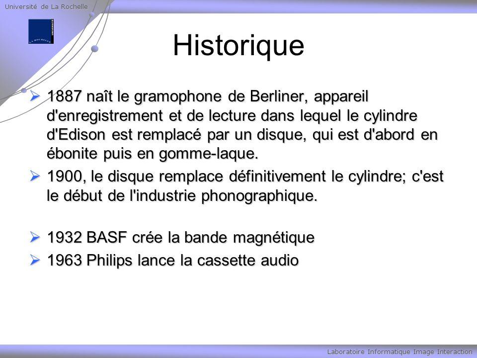 Université de La Rochelle Laboratoire Informatique Image Interaction Historique 1887 naît le gramophone de Berliner, appareil d enregistrement et de lecture dans lequel le cylindre d Edison est remplacé par un disque, qui est d abord en ébonite puis en gomme-laque.