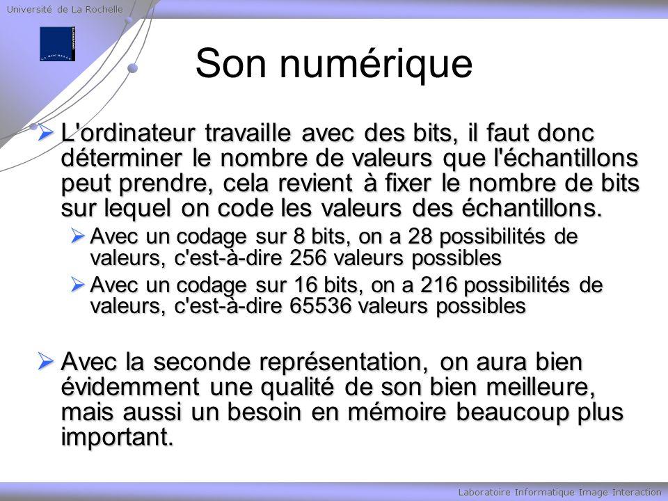 Université de La Rochelle Laboratoire Informatique Image Interaction Son numérique L ordinateur travaille avec des bits, il faut donc déterminer le nombre de valeurs que l échantillons peut prendre, cela revient à fixer le nombre de bits sur lequel on code les valeurs des échantillons.