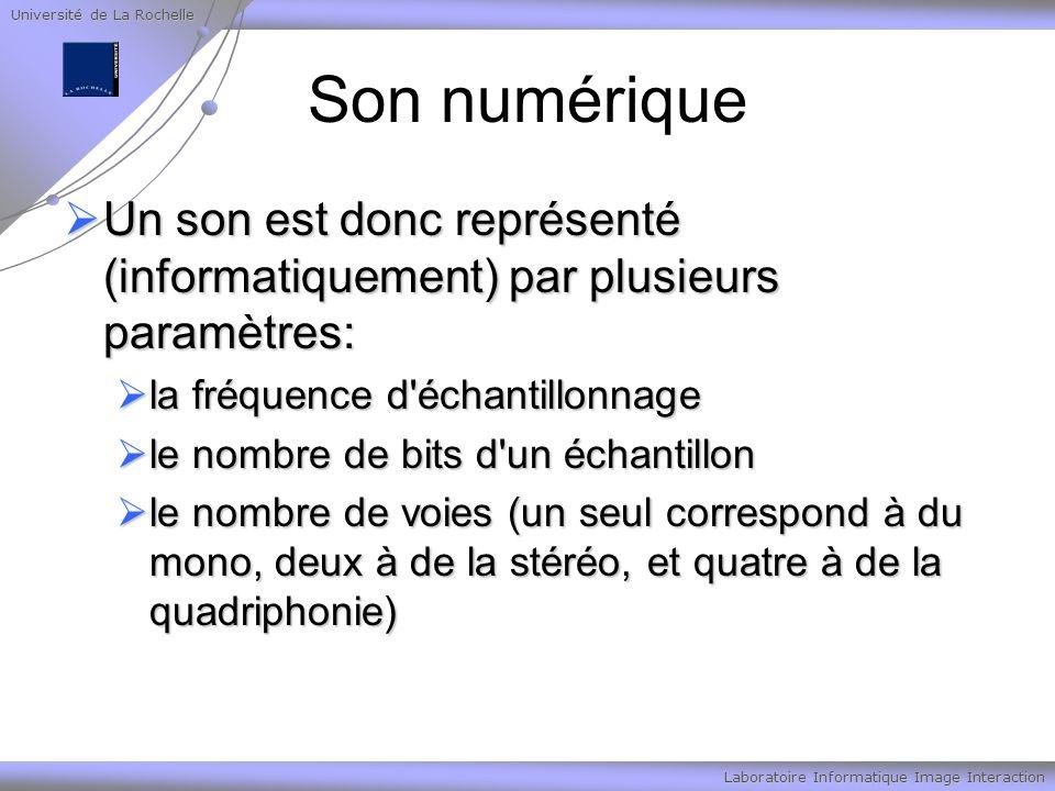 Université de La Rochelle Laboratoire Informatique Image Interaction Son numérique Un son est donc représenté (informatiquement) par plusieurs paramètres: Un son est donc représenté (informatiquement) par plusieurs paramètres: la fréquence d échantillonnage la fréquence d échantillonnage le nombre de bits d un échantillon le nombre de bits d un échantillon le nombre de voies (un seul correspond à du mono, deux à de la stéréo, et quatre à de la quadriphonie) le nombre de voies (un seul correspond à du mono, deux à de la stéréo, et quatre à de la quadriphonie)