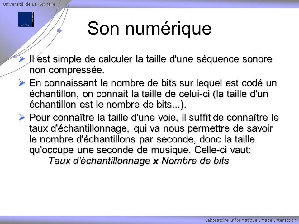 Université de La Rochelle Laboratoire Informatique Image Interaction Son numérique Il est simple de calculer la taille d'une séquence sonore non compr