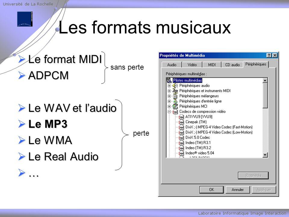 Université de La Rochelle Laboratoire Informatique Image Interaction Les formats musicaux Le format MIDI Le format MIDI ADPCM ADPCM Le WAV et laudio Le WAV et laudio Le MP3 Le MP3 Le WMA Le WMA Le Real Audio Le Real Audio … sans perte perte