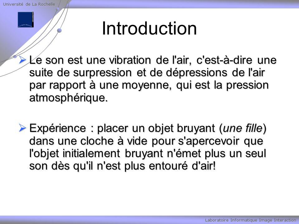 Université de La Rochelle Laboratoire Informatique Image Interaction Son numérique Conversion analogique/numérique : Conversion analogique/numérique : 3 étapes 3 étapes Echantillonage Echantillonage Quantification Quantification Encodage Encodage