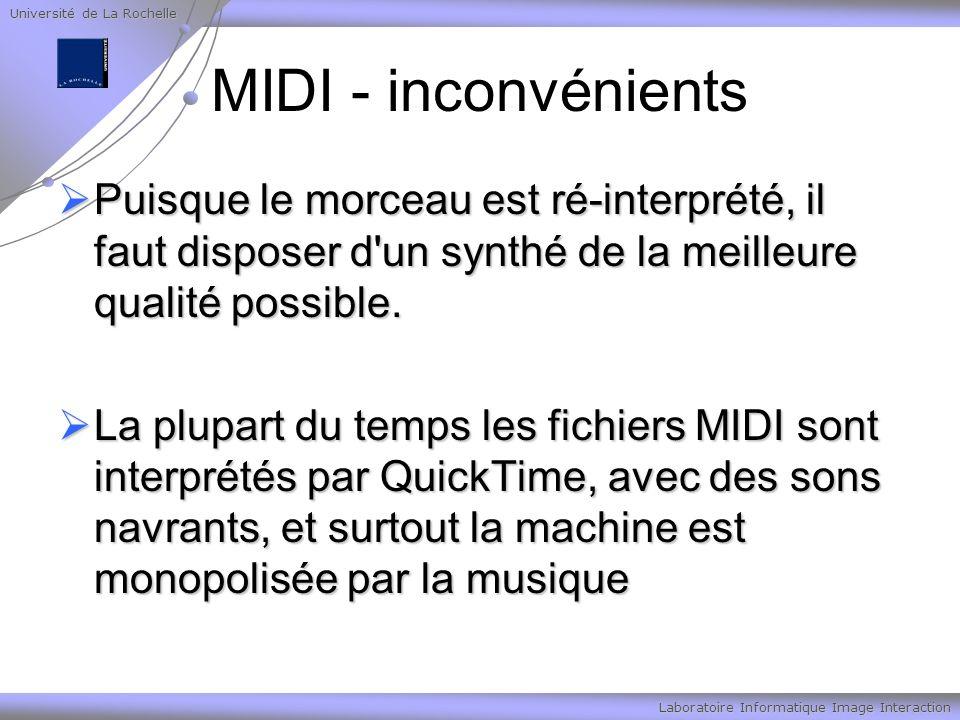 Université de La Rochelle Laboratoire Informatique Image Interaction MIDI - inconvénients Puisque le morceau est ré-interprété, il faut disposer d'un