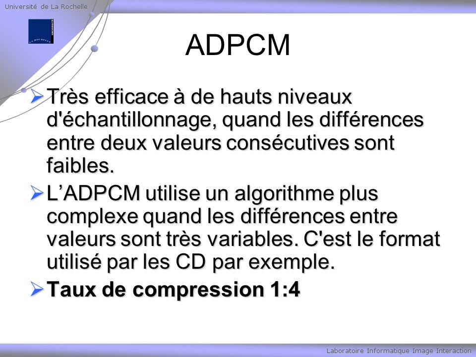 Université de La Rochelle Laboratoire Informatique Image Interaction ADPCM Très efficace à de hauts niveaux d'échantillonnage, quand les différences e