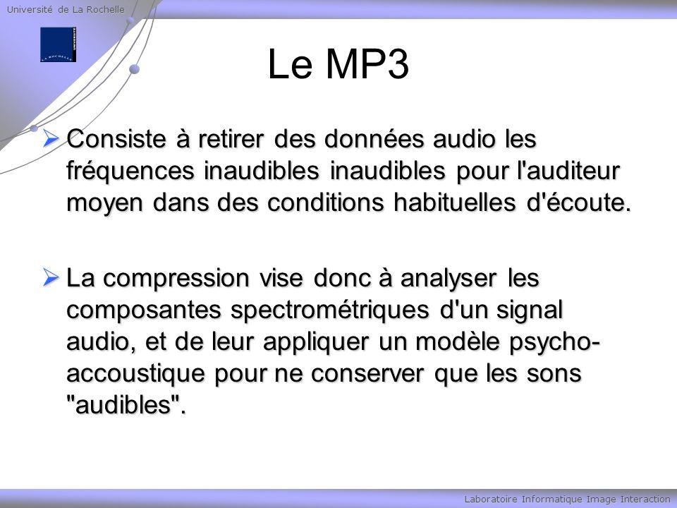 Université de La Rochelle Laboratoire Informatique Image Interaction Le MP3 Consiste à retirer des données audio les fréquences inaudibles inaudibles pour l auditeur moyen dans des conditions habituelles d écoute.