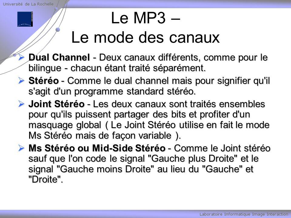Université de La Rochelle Laboratoire Informatique Image Interaction Le MP3 – Le mode des canaux Dual Channel - Deux canaux différents, comme pour le