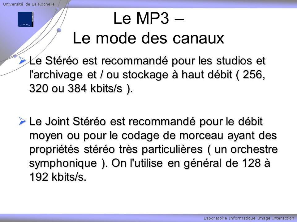 Université de La Rochelle Laboratoire Informatique Image Interaction Le MP3 – Le mode des canaux Le Stéréo est recommandé pour les studios et l archivage et / ou stockage à haut débit ( 256, 320 ou 384 kbits/s ).
