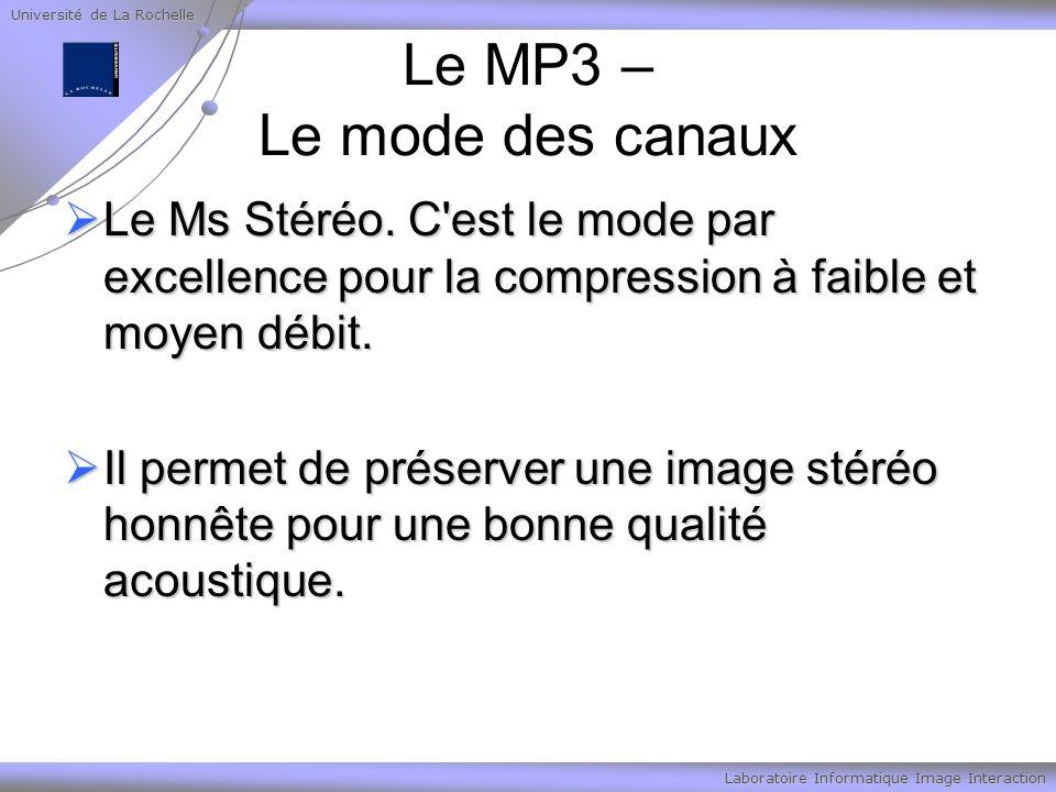 Université de La Rochelle Laboratoire Informatique Image Interaction Le MP3 – Le mode des canaux Le Ms Stéréo. C'est le mode par excellence pour la co