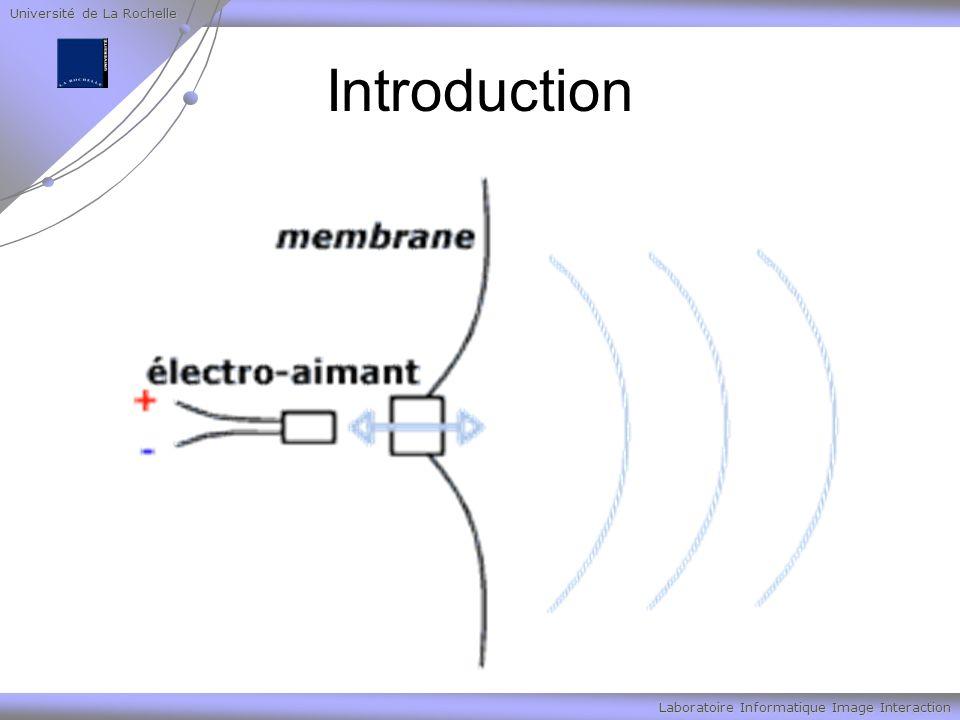 Université de La Rochelle Laboratoire Informatique Image Interaction Introduction De cette façon on produit des ondes sonores qui peuvent être représentées sur un graphique comme les variations de la pression de l air (ou bien de l électricité dans l électro-aimant) en fonction du temps.