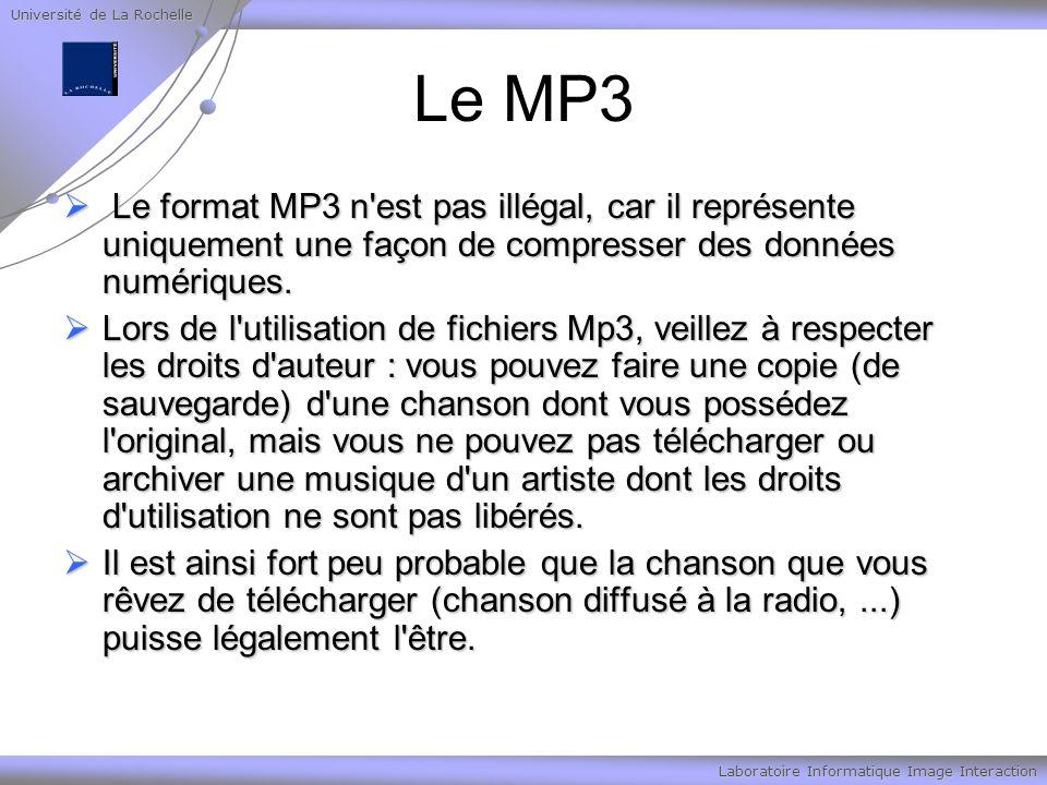 Université de La Rochelle Laboratoire Informatique Image Interaction Le MP3 Le format MP3 n'est pas illégal, car il représente uniquement une façon de
