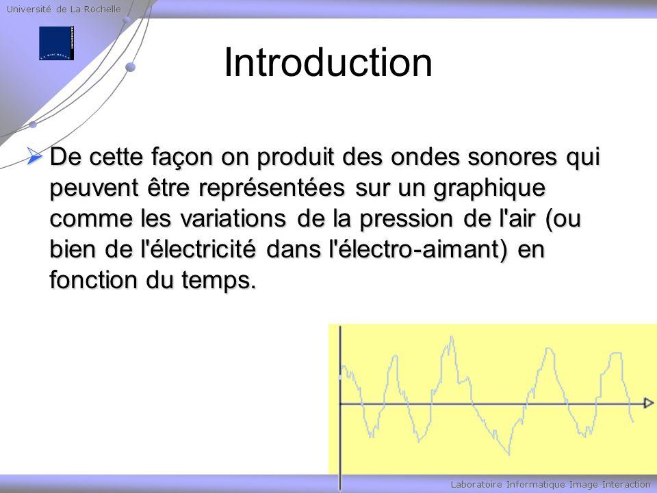 Université de La Rochelle Laboratoire Informatique Image Interaction Son numérique Voici quelques exemples de taux d échantillonnage et de qualités de son associées: Voici quelques exemples de taux d échantillonnage et de qualités de son associées: Taux d échantillonnage Qualité du son 44100 Hz qualité CD 22000 Hz qualité radio AM, K7 8000 Hz qualité téléphone