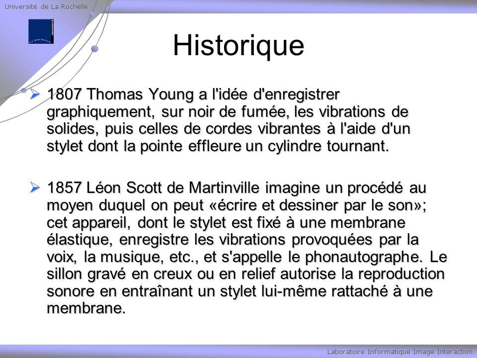 Université de La Rochelle Laboratoire Informatique Image Interaction Historique 1807 Thomas Young a l'idée d'enregistrer graphiquement, sur noir de fu