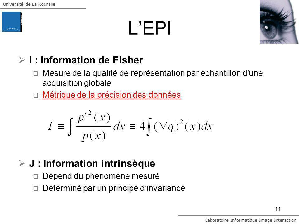 Université de La Rochelle Laboratoire Informatique Image Interaction 11 LEPI I : Information de Fisher Mesure de la qualité de représentation par écha