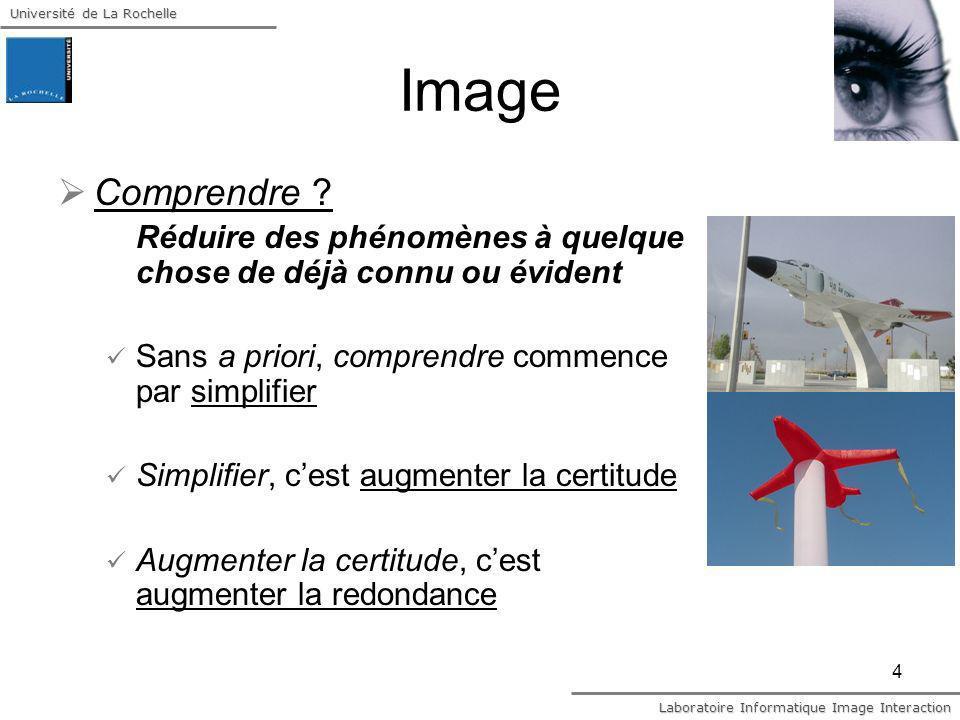 Université de La Rochelle Laboratoire Informatique Image Interaction 4 Image Comprendre ? Réduire des phénomènes à quelque chose de déjà connu ou évid