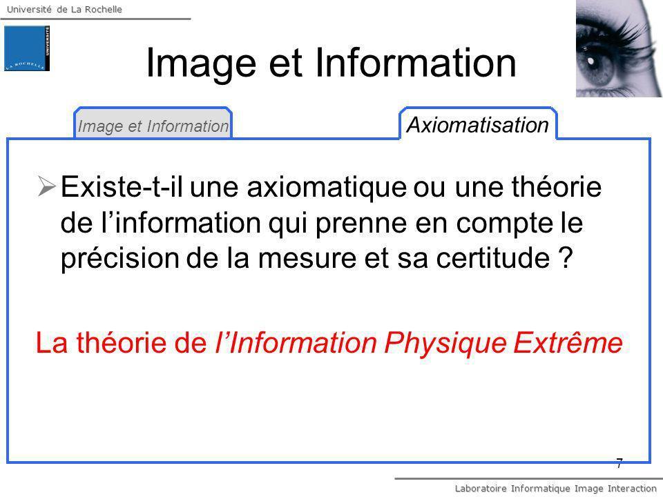 Université de La Rochelle Laboratoire Informatique Image Interaction 7 Image et Information Axiomatisation Image et Information Existe-t-il une axioma