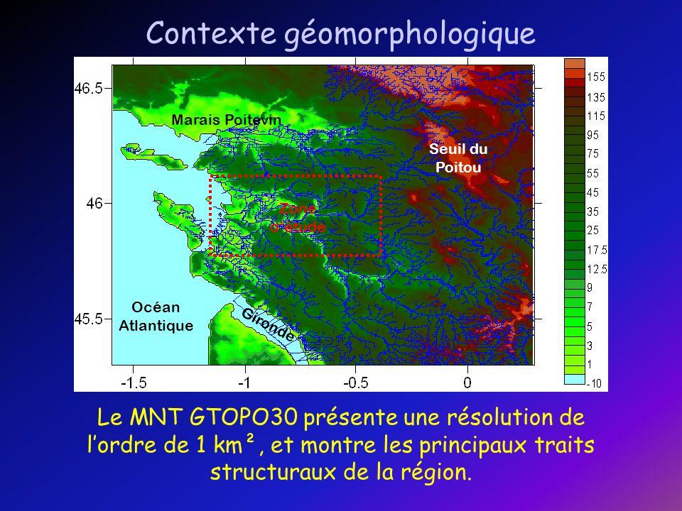 Le MNT BD ALTI possède une résolution supérieure (maille carrée de 50 m de côté), qui permet de souligner des structures qui expliquent la formation des marais charentais.