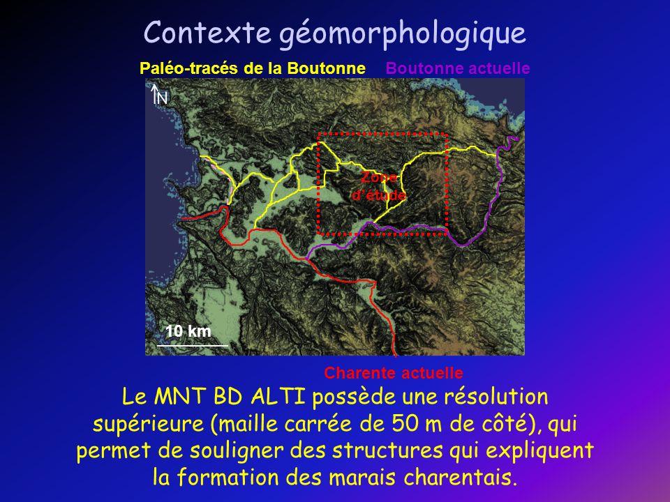 5 km Contexte géomorphologique Cette étude de la géomorphologie régionale permet de mettre en évidence la géométrie remarquable du marais de Landes.