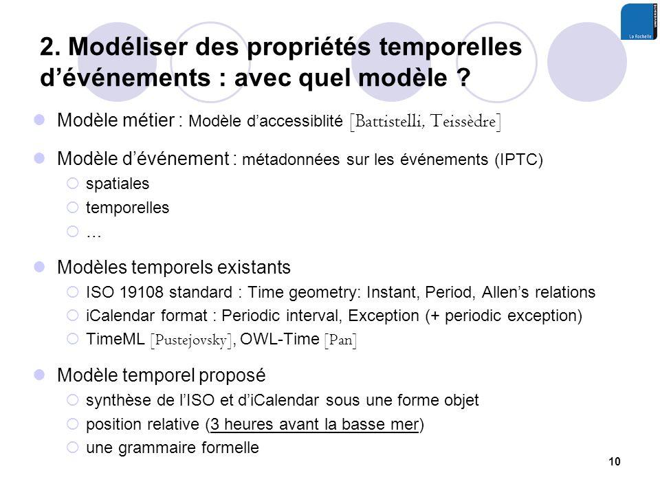 2. Modéliser des propriétés temporelles dévénements : avec quel modèle .