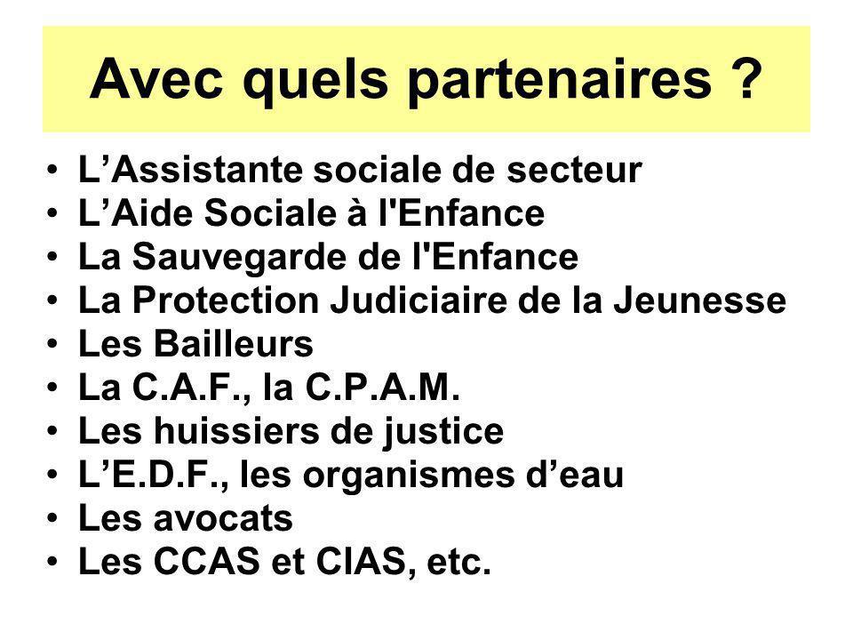 Avec quels partenaires ? LAssistante sociale de secteur LAide Sociale à l'Enfance La Sauvegarde de l'Enfance La Protection Judiciaire de la Jeunesse L