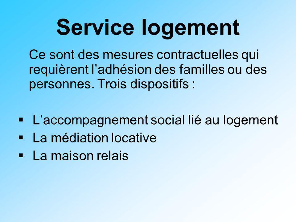 Service logement Ce sont des mesures contractuelles qui requièrent ladhésion des familles ou des personnes. Trois dispositifs : Laccompagnement social