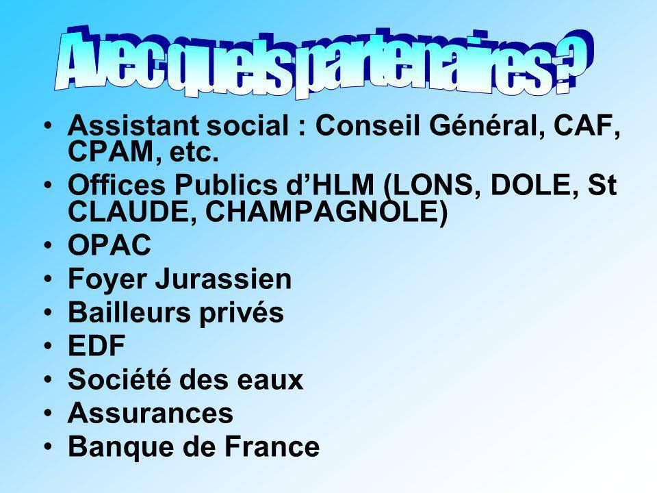 Assistant social : Conseil Général, CAF, CPAM, etc. Offices Publics dHLM (LONS, DOLE, St CLAUDE, CHAMPAGNOLE) OPAC Foyer Jurassien Bailleurs privés ED