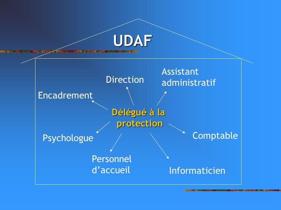 UDAF Délégué à la protection Encadrement Assistant administratif Comptable Informaticien Personnel daccueil Psychologue Direction