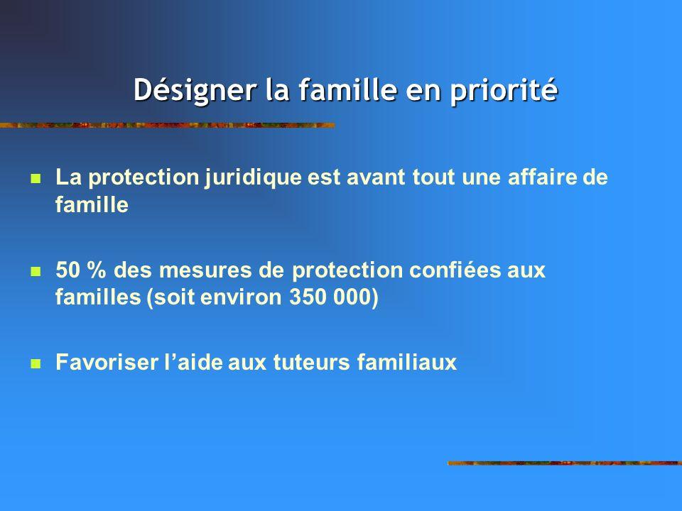 La protection juridique est avant tout une affaire de famille 50 % des mesures de protection confiées aux familles (soit environ 350 000) Favoriser la