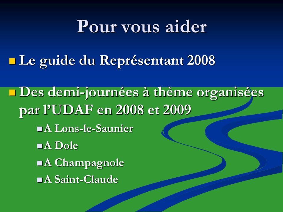 Pour vous aider Le guide du Représentant 2008 Le guide du Représentant 2008 Des demi-journées à thème organisées par lUDAF en 2008 et 2009 Des demi-jo