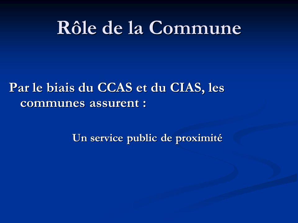 Rôle de la Commune Par le biais du CCAS et du CIAS, les communes assurent : Un service public de proximité