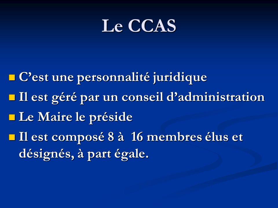 Le CCAS Cest une personnalité juridique Cest une personnalité juridique Il est géré par un conseil dadministration Il est géré par un conseil dadminis