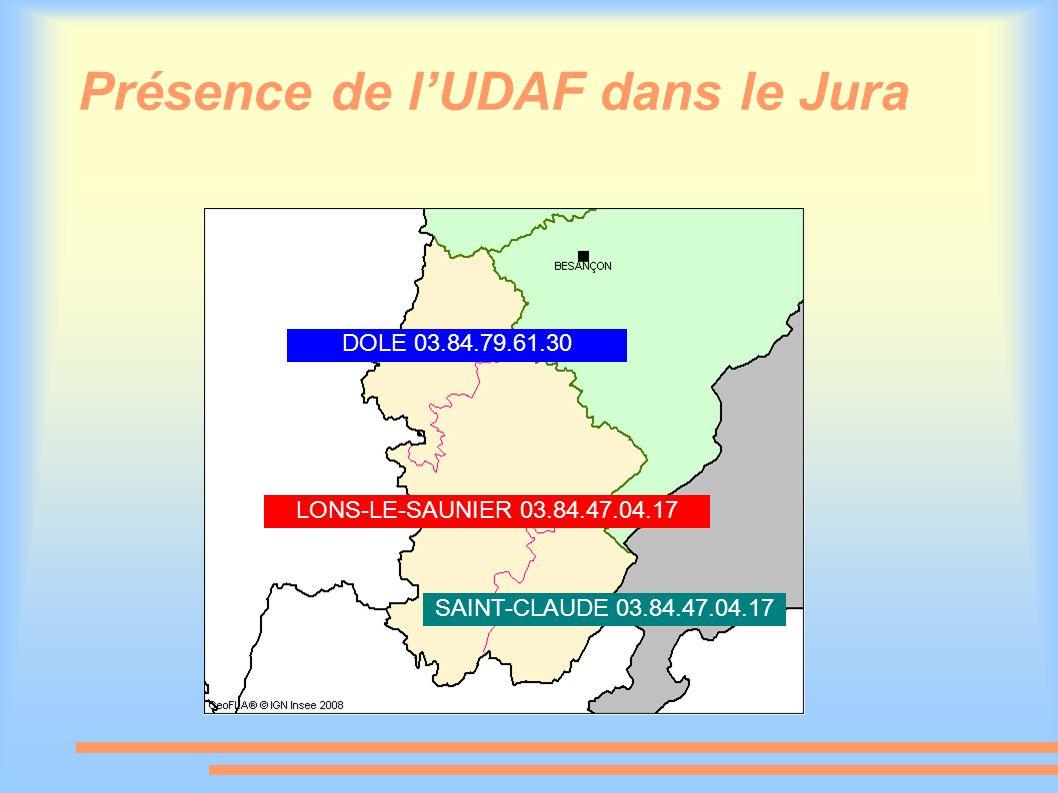 Présence de lUDAF dans le Jura DOLE 03.84.79.61.30 LONS-LE-SAUNIER 03.84.47.04.17 SAINT-CLAUDE 03.84.47.04.17