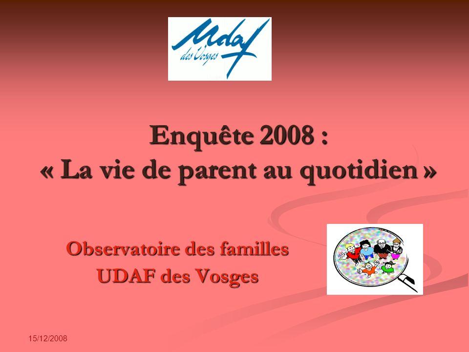 15/12/2008 Enquête 2008 : « La vie de parent au quotidien » Observatoire des familles UDAF des Vosges