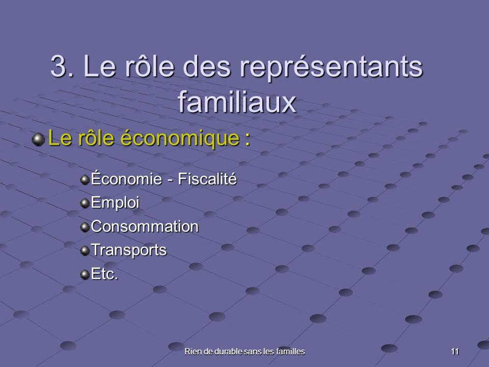 11 Rien de durable sans les familles 3. Le rôle des représentants familiaux Le rôle économique : Économie - Fiscalité EmploiConsommationTransportsEtc.