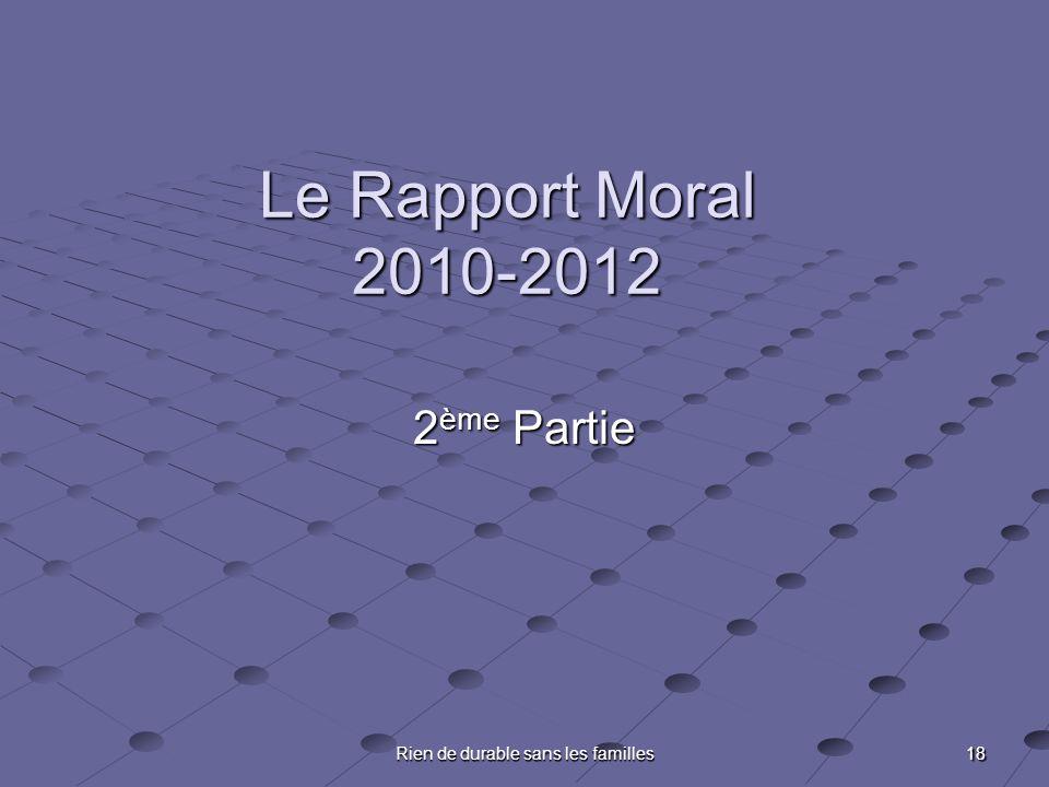 18 Rien de durable sans les familles Le Rapport Moral 2010-2012 2 ème Partie