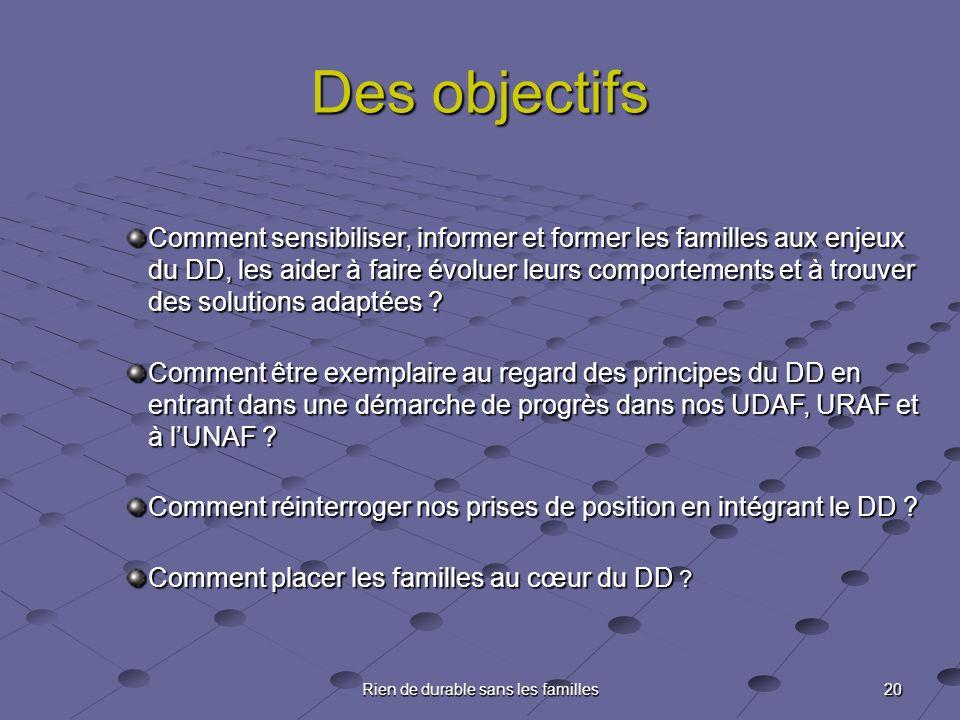 20 Rien de durable sans les familles Des objectifs Comment sensibiliser, informer et former les familles aux enjeux du DD, les aider à faire évoluer l