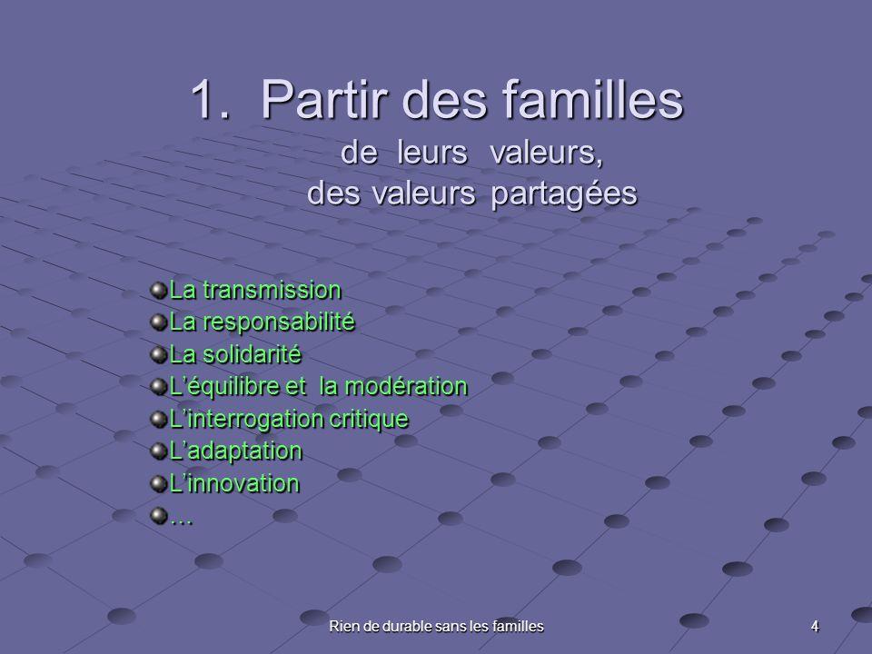 4 Rien de durable sans les familles 1.Partir des familles de leurs valeurs, des valeurs partagées La transmission La responsabilité La solidarité Léqu