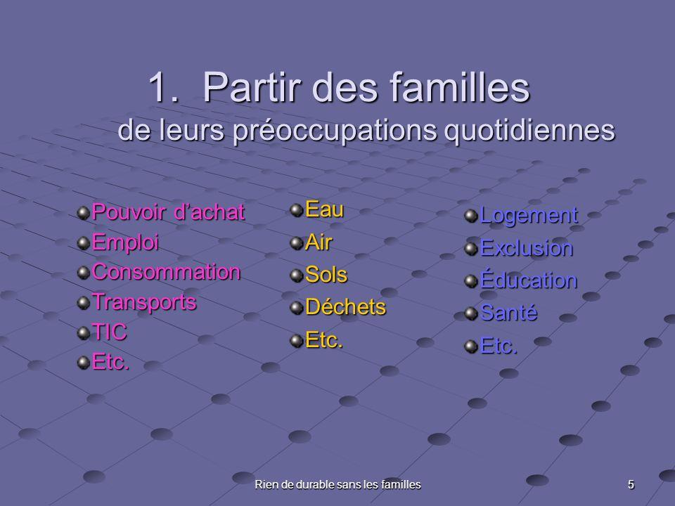 5 Rien de durable sans les familles 1.Partir des familles de leurs préoccupations quotidiennes Pouvoir dachat EmploiConsommationTransportsTICEtc.