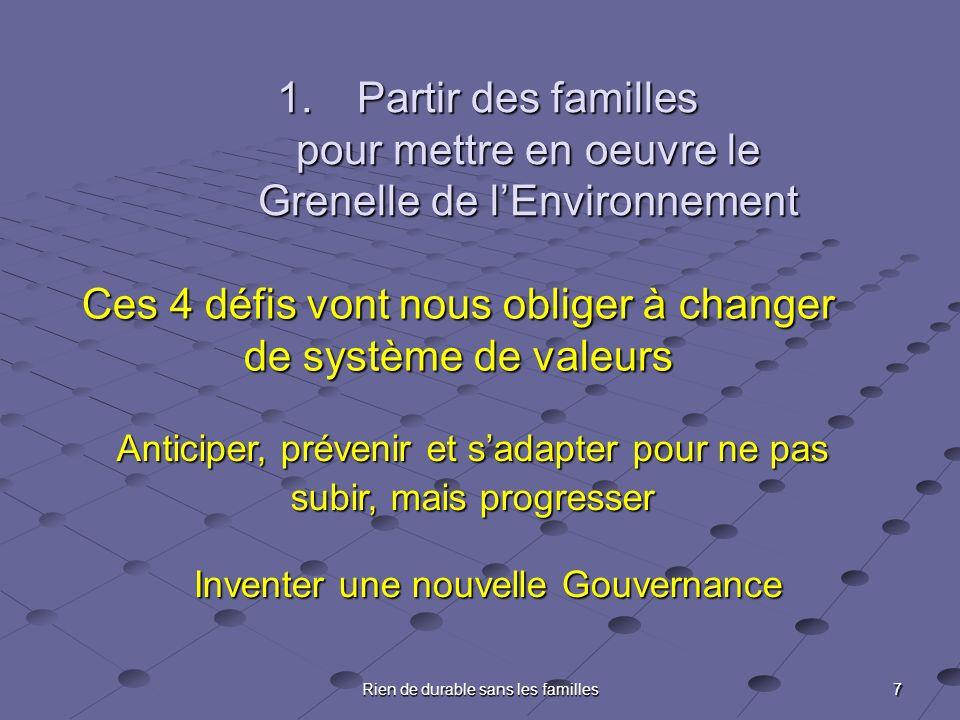 7 Rien de durable sans les familles Ces 4 défis vont nous obliger à changer de système de valeurs Anticiper, prévenir et sadapter pour ne pas subir, mais progresser Inventer une nouvelle Gouvernance 1.Partir des familles pour mettre en oeuvre le Grenelle de lEnvironnement