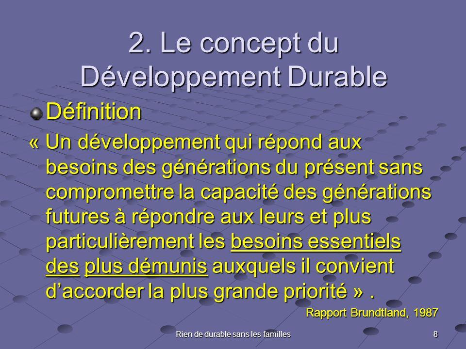 8 Rien de durable sans les familles 2. Le concept du Développement Durable Définition « Un développement qui répond aux besoins des générations du pré