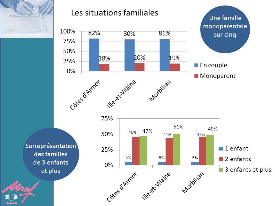 Les situations familiales Une famille monoparentale sur cinq Surreprésentation des familles de 3 enfants et plus